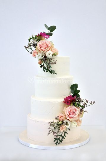 Pink Naked Wedding Cake