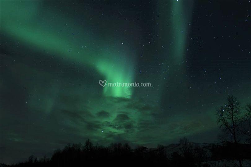 Aurora boreale tra i Fiordi