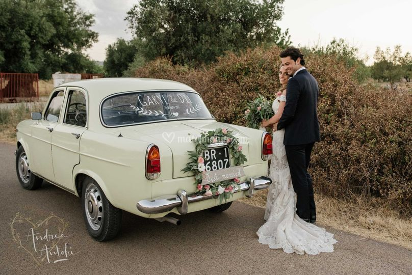 Auto d'epoca vintage wedding