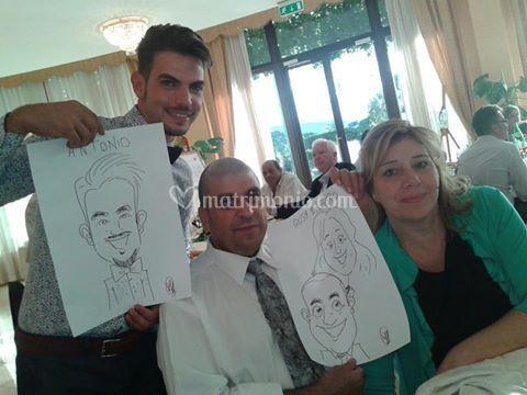 Caricature durante il pranzo