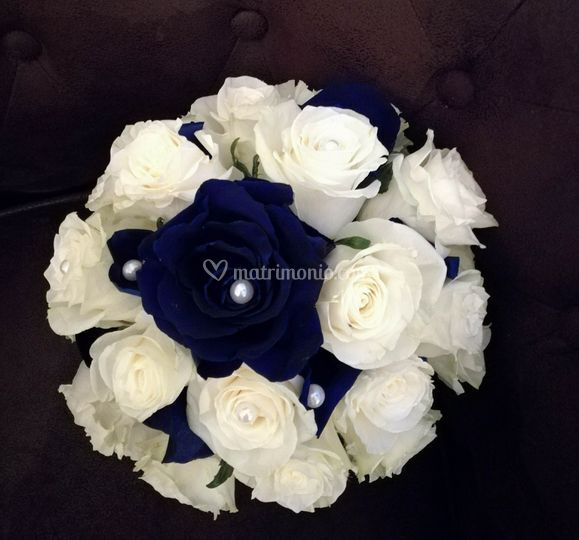 Bouquet bianco e blu