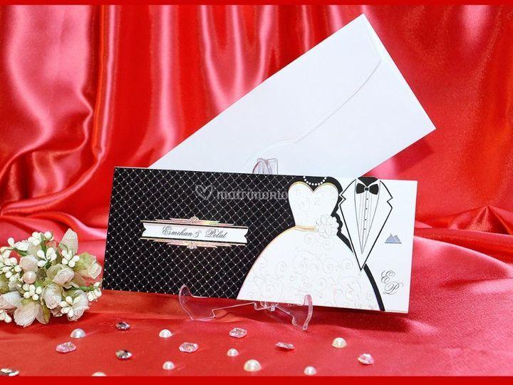 Partecipazione sposi elegante