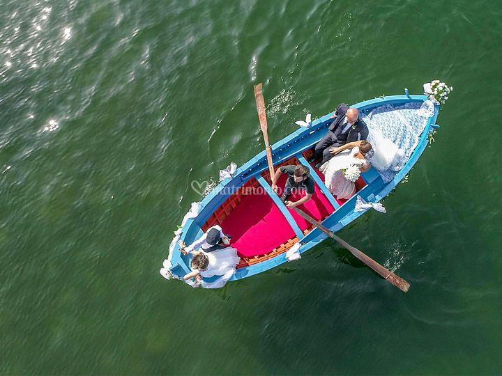 Matrimnonio con drone barca