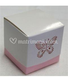 Scatoletta porta confetti rosa 5x5cm
