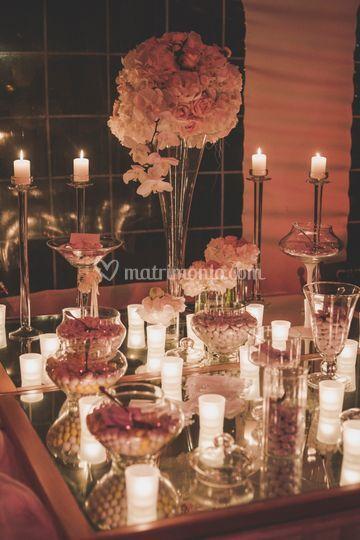 Confettata candele e fiori