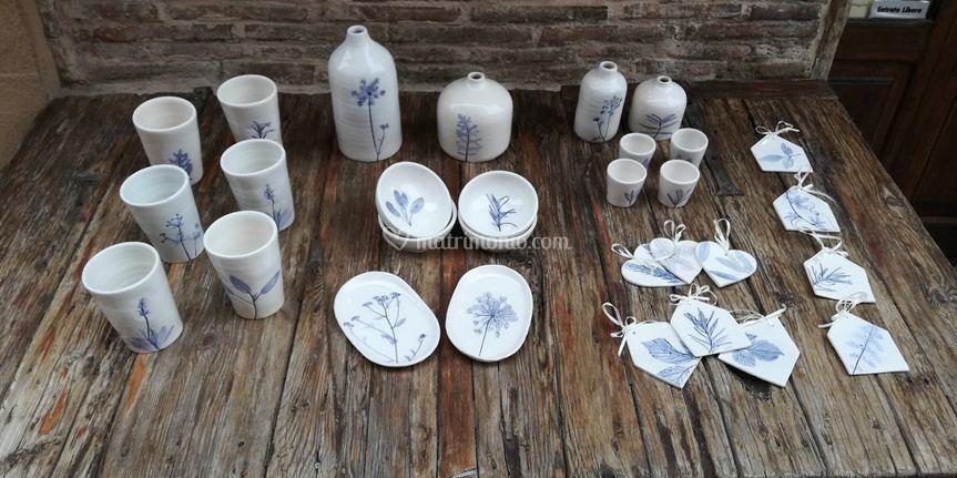 Bicchieri piattini decorazioni