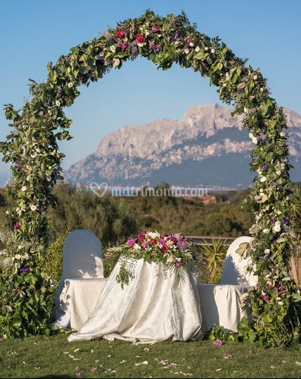 Wedding arch and view