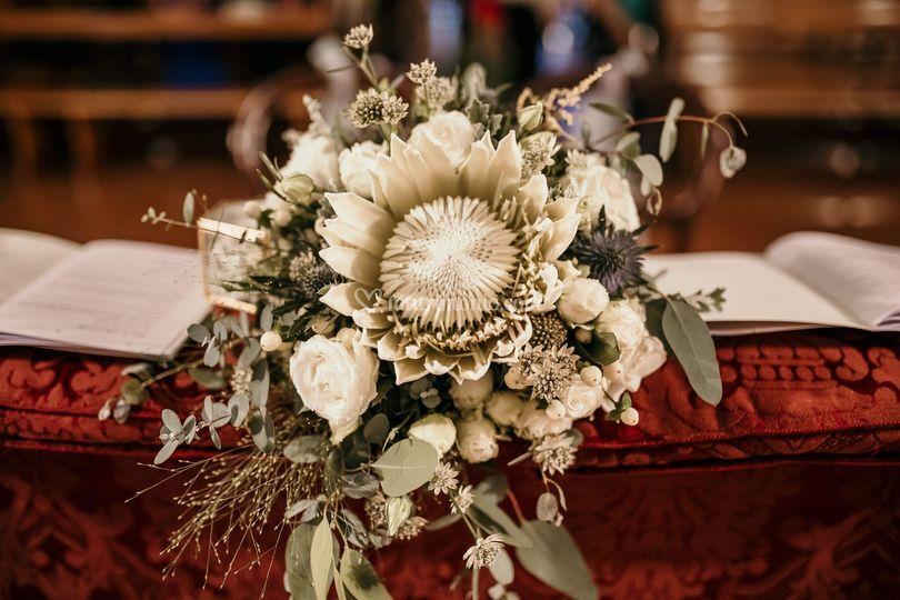 La protea bianca, il bouquet.