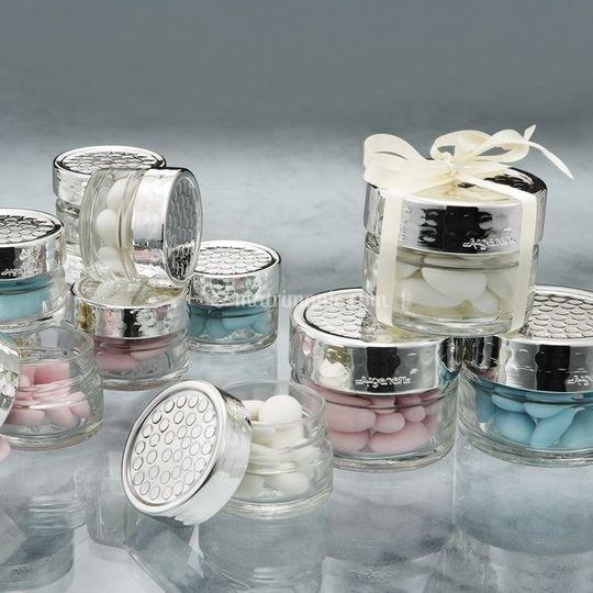 Bomboniere Contenitore in vetro con dettagli in puro argento