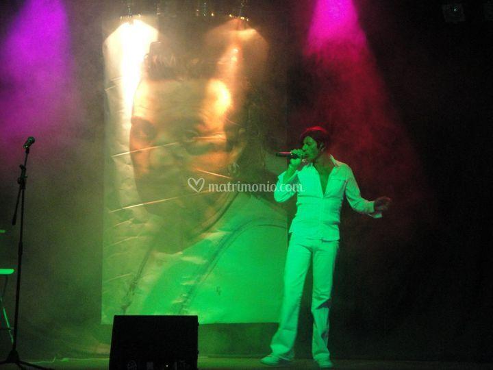 Luigi on the stage singing
