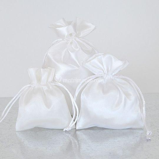 Portaconfetti in raso bianco