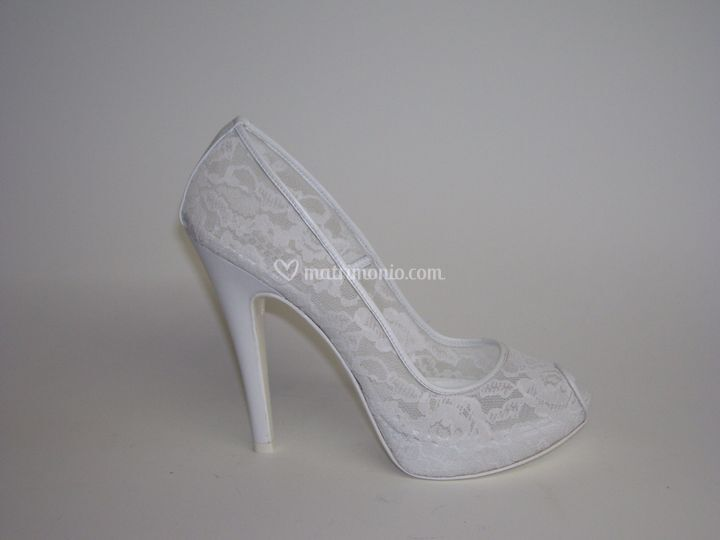 Open toe in pizzo tacco 12