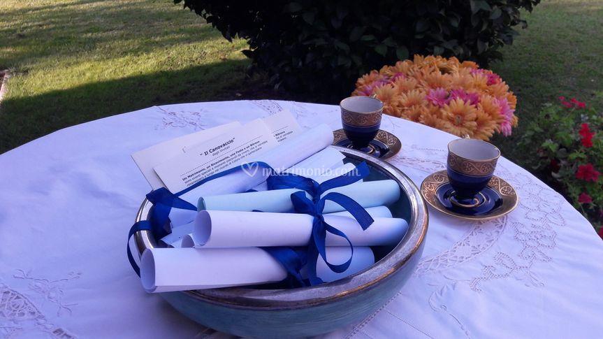 Segnaposti ai tavoli di nozze