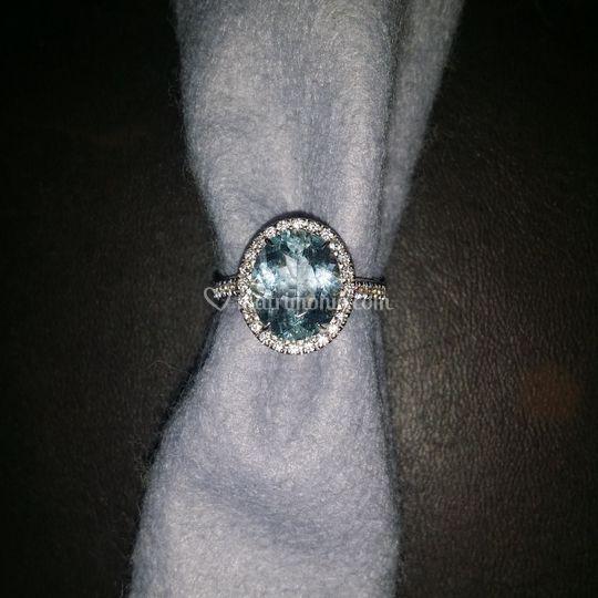 Anello acquamarina e diamanti
