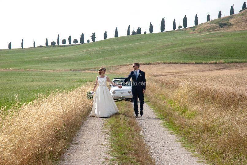 Fiat 500 F - wedding day