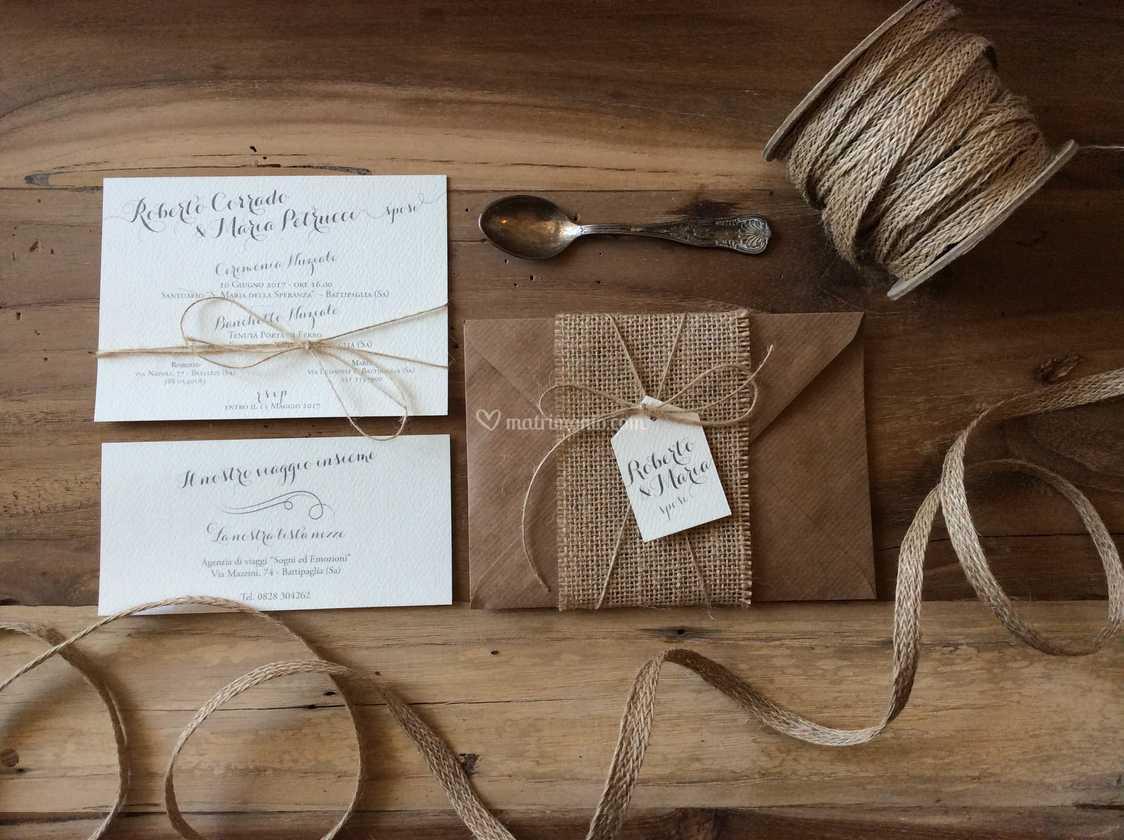 Partecipazioni Matrimonio Juta.Partecipazione Juta E Craft Di Inviti A Nozze Foto 6
