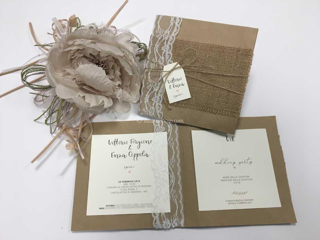 Partecipazioni Matrimonio Juta.Partecipazione Juta Kraft Di Inviti A Nozze Foto 14