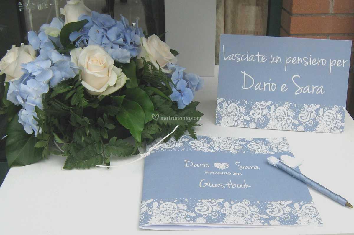 Partecipazioni Matrimonio Azzurro Polvere : Guest book azzurro polvere di t invito a nozze foto