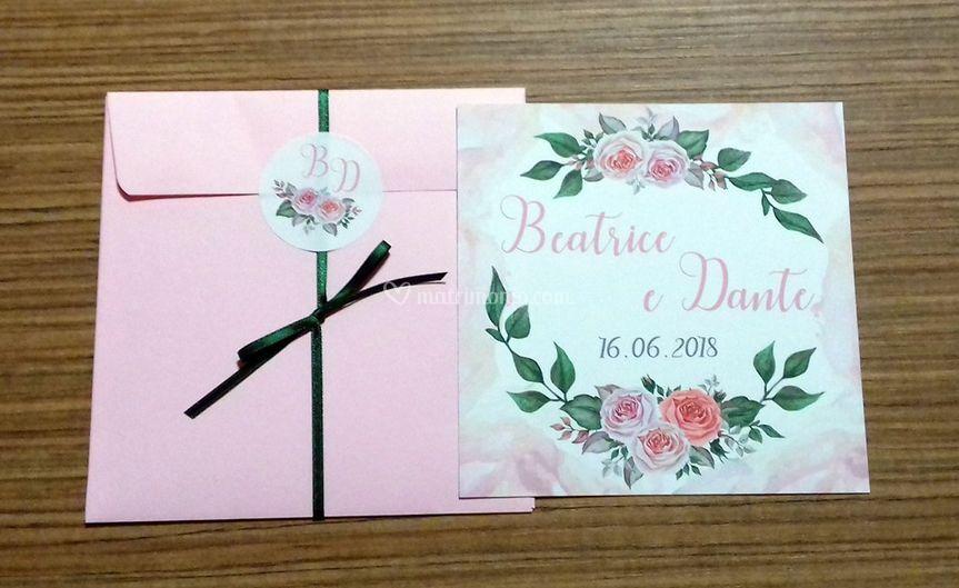 Partecipazione rose romantica