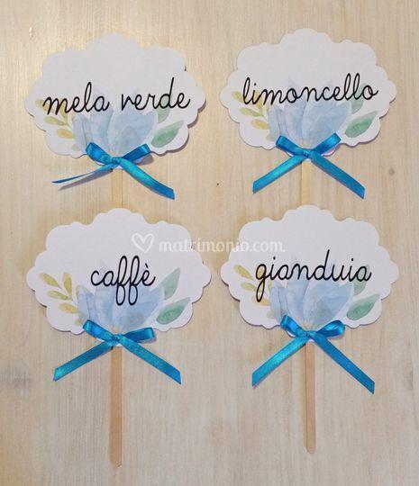 Cartelli per confettata azzurr