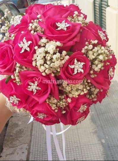 Bouquet sposa rose fucsia