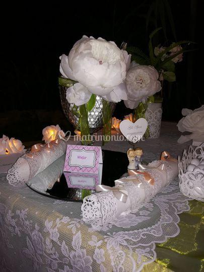 Dettaglio tavolo confettata