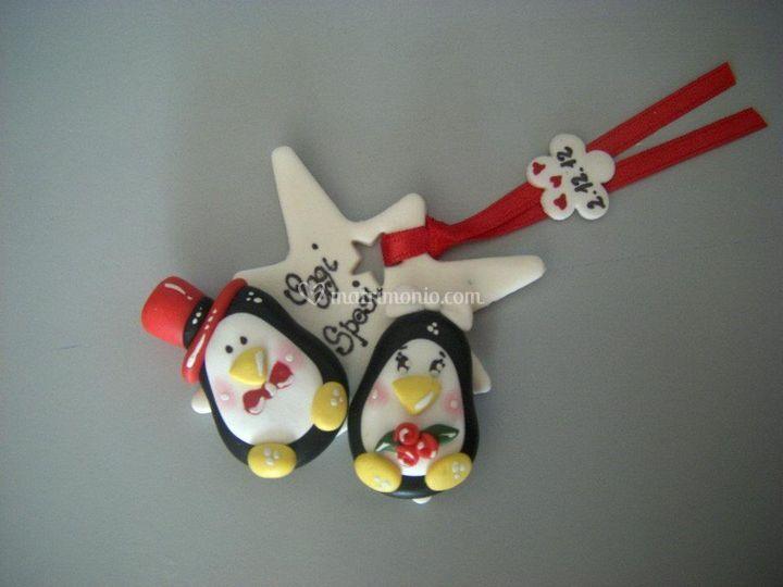 Sposini pinguini segnaposto calamita