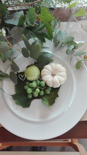 Composizione zucche bianche