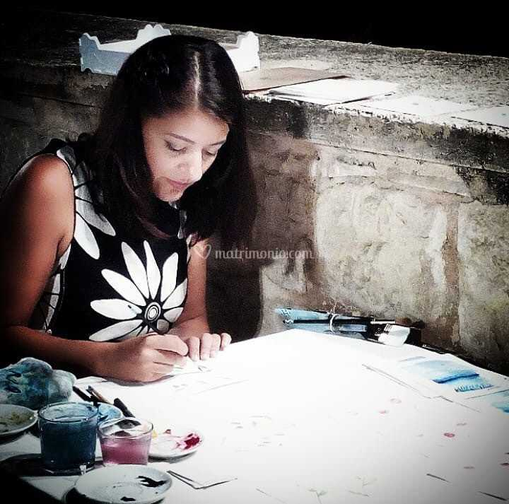 Irene durante il live painting