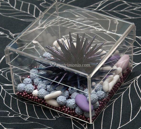 Riccio marino interamente in Porcellana di Capodimonte confezionato in scatola di plexiglass con confetti assortiti