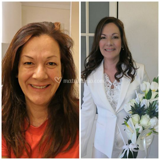 Prima e dopo make-up sposa