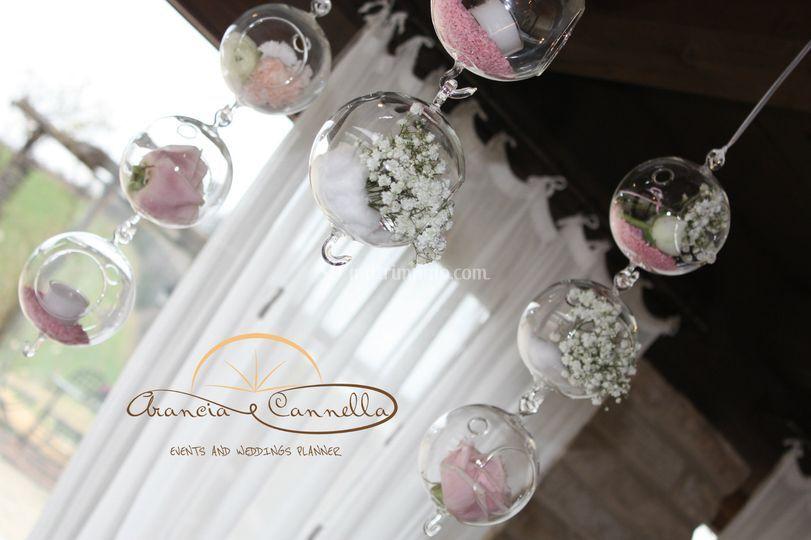 Sfere in vetro con decorazioni