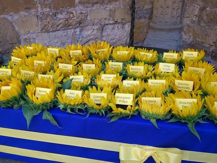 Tableau Matrimonio Girasoli : Ricevimento e cerimonia in toscana con girasoli come