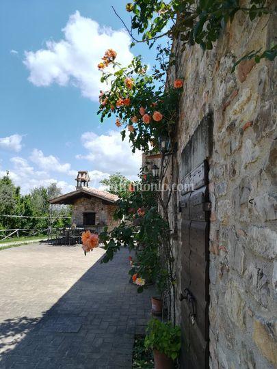 Forno esterno e parete fiorita