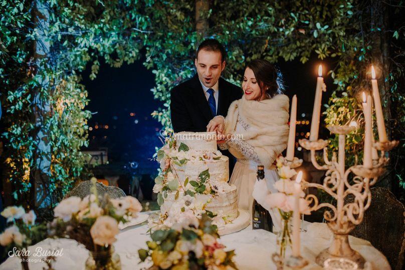 Winter cut off  wedding cake