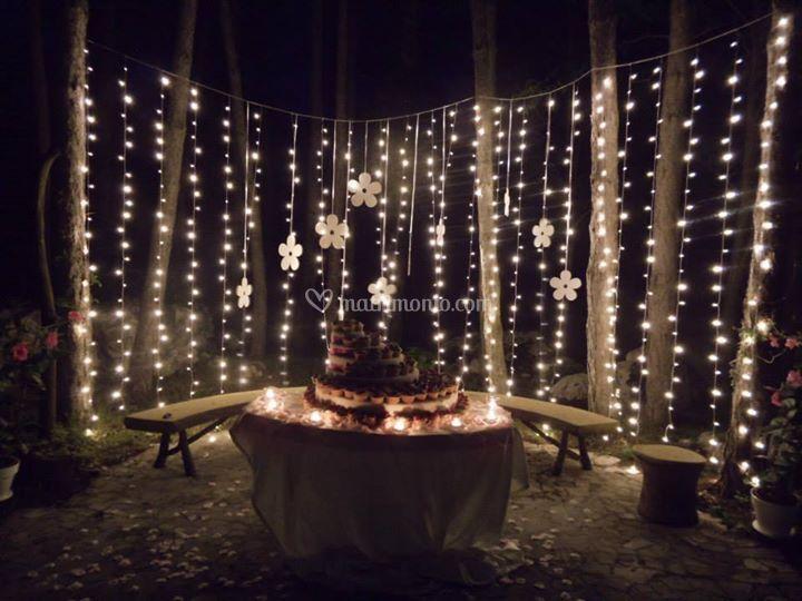 Pioggia di luci per la torta