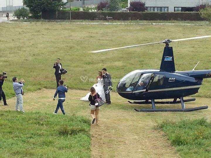 Arrivo in elicottero