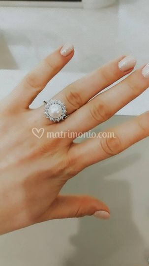 Solitario perla e diamanti