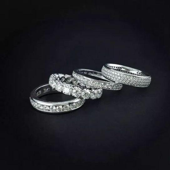 Fedine oro bianco e Diamanti