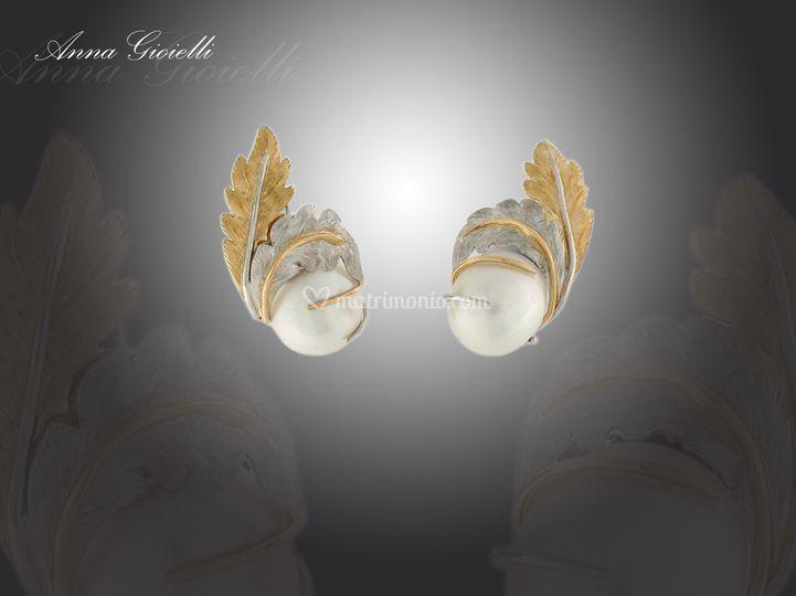 Orecchini perla e foglie d'oro