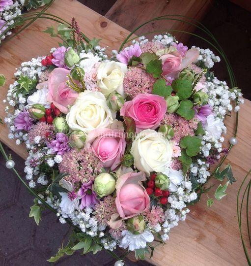 Cuori di fiori freschi