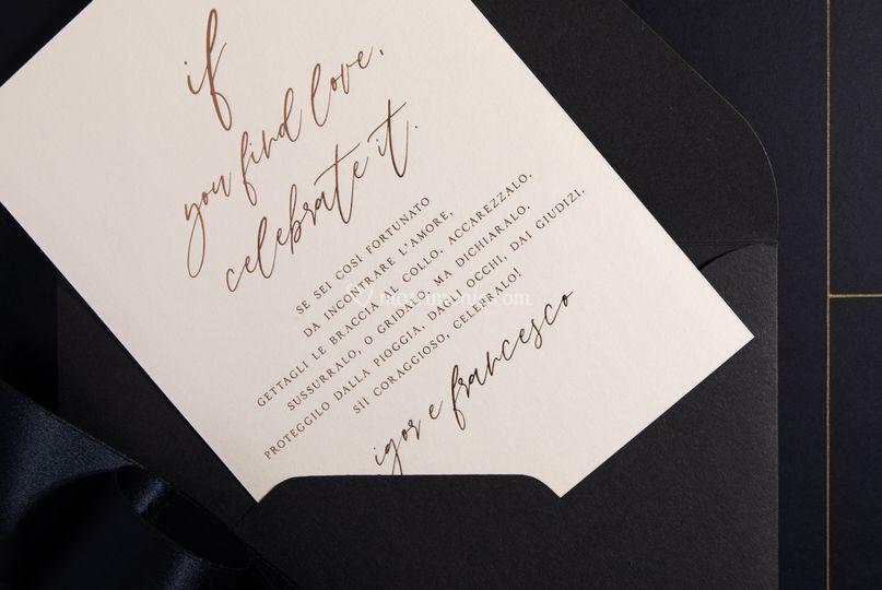 White and grey invitation