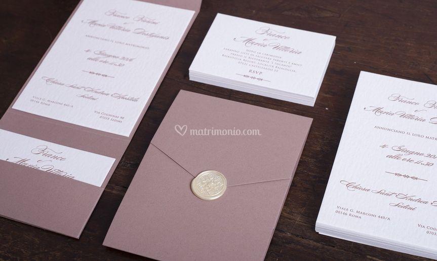 Mandorl letterpress invitation
