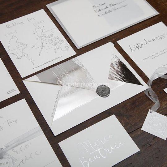 Silver&letterpress invitatio