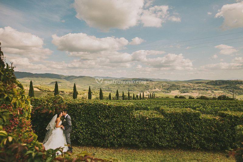 Bacio con vista di Borgo Castelvecchi