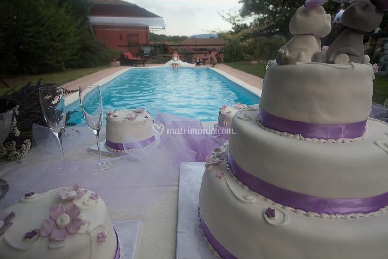 Taglio torta a bordo piscina