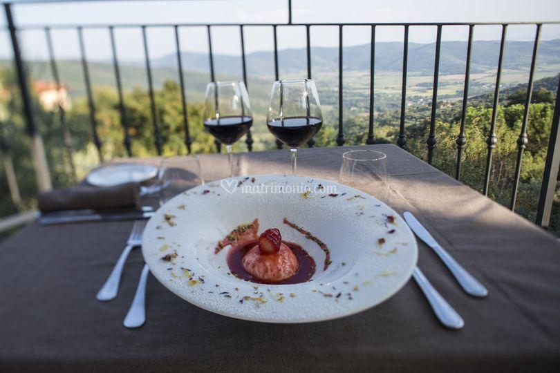 Dessert vista sulla valle