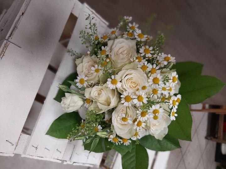 Bouquet sposa camomilla e rose