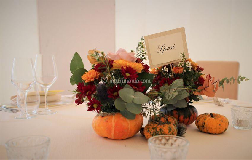 Tavolo sposi zucche autunno
