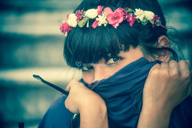 Coroncina di fiori, perle